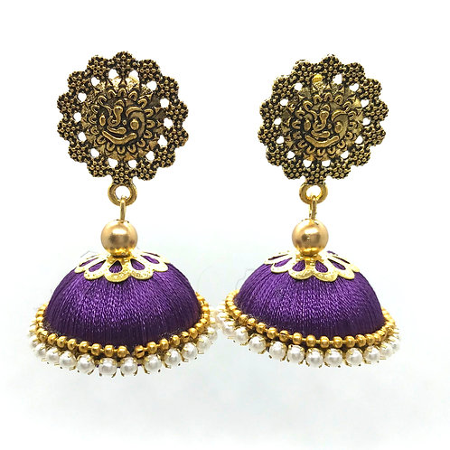 Silk Thread Jhumkas - Purple