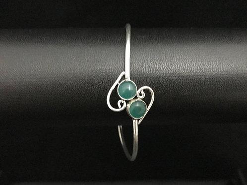 German Silver Bangle - Green
