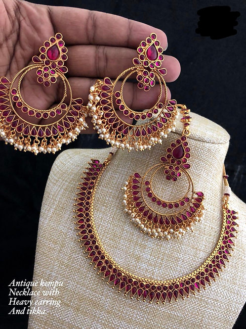 Pink Antique Stones Set with Ear Rings and Maang Tikka