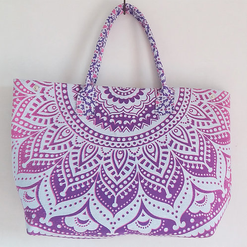 Pink Purple Mandala Hand Bags Ladies Tote Bag