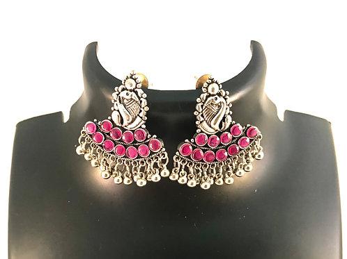 German Silver Ear Rings - Pink