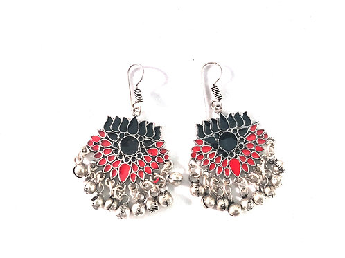 Afghani Ear Rings - Red & Bkack