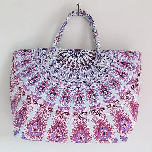 Harmony Pink Purple and White Trendy Summer Tote Handbag