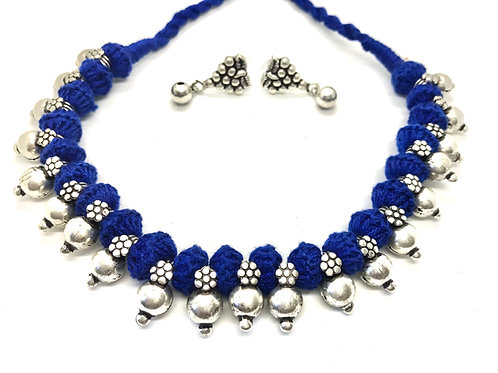 German Silver Simple Choker - Blue