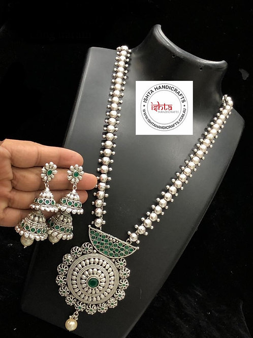German Silver Long Set with Step By Step Jhumkas - Green