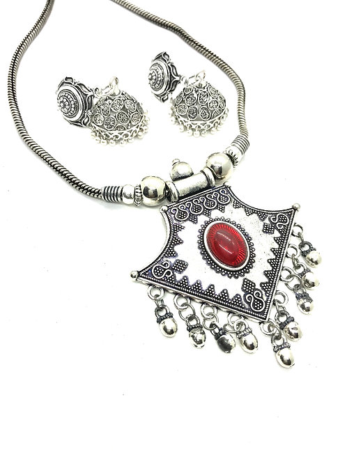 German Silver Set with Red Stones