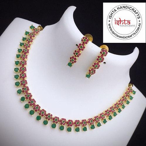 American Diamond Stones Neckpiece - Multicolour