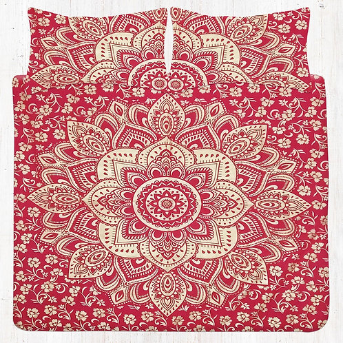 Red Golden Floral Mandala Bedding Set with Pillow Cases