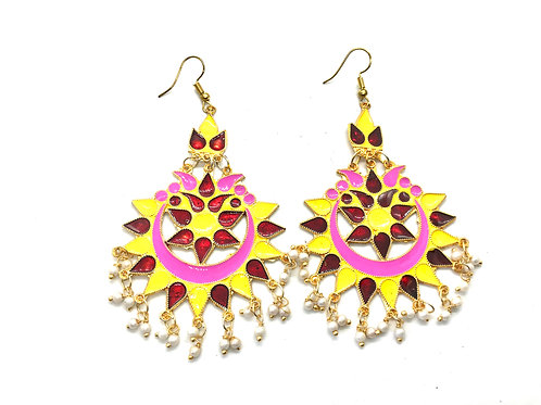 Afghani Ear Ring - Yellow and Meroon