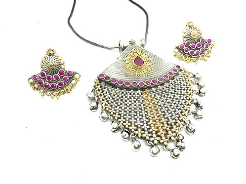 Antique Finish German Silver and Brass Set with Pink Stones and Ear Rings