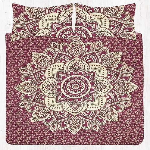 Maroon Floral Mandala Bedding Set with Pillow Cases
