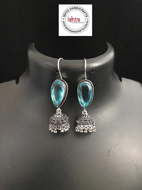 Hook Stone German Silver Jhumkas - Blue