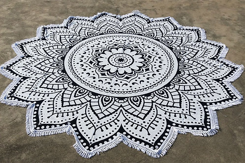 Black & White Lotus Mandala Roundie