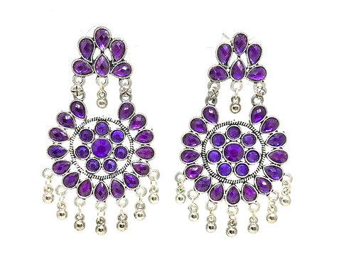German Silver Ear Rings - Purple
