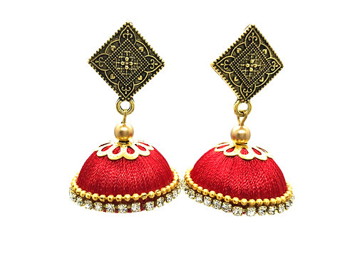 Silk Thread Jhumkas - Red