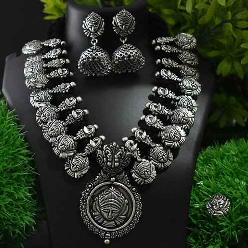 Durga Neckpiece with Jhumkas - Black