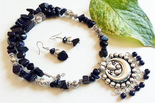 German Silver Black Beads Set with Ear Rings