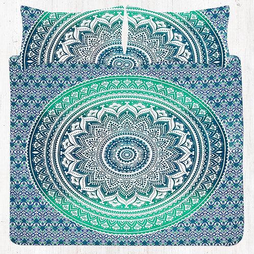 Light & Dark Green Mandala Bedding Set with Pillow Cases