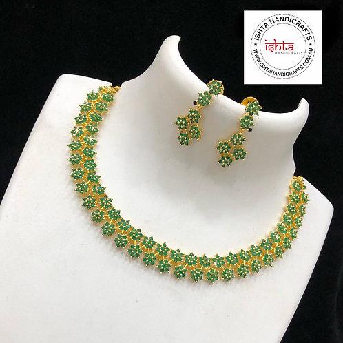 American Diamond Stones Neckpiece - Green