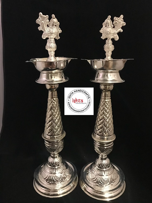 German Silver Peacock Pooja Lamps