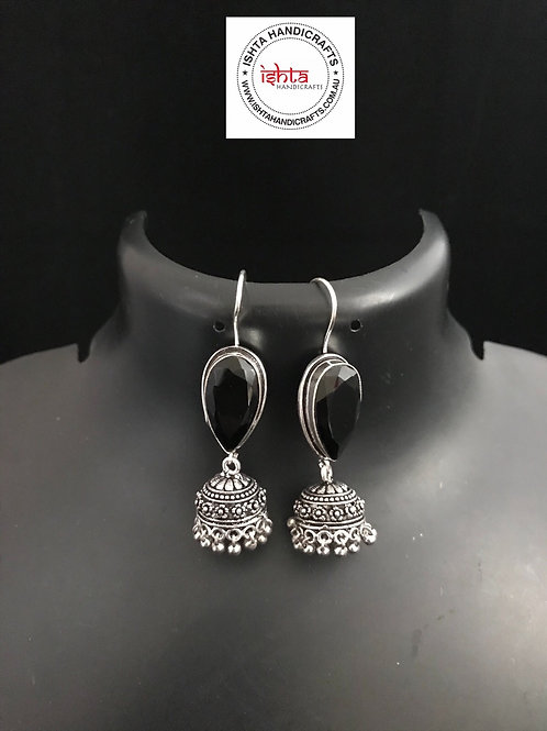 Hook Stone German Silver Jhumkas - Black