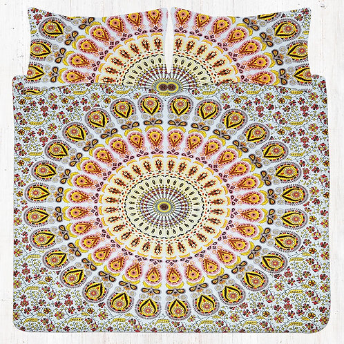 Yellow Pink & Black Mandala Bedding Set with Pillow Cases