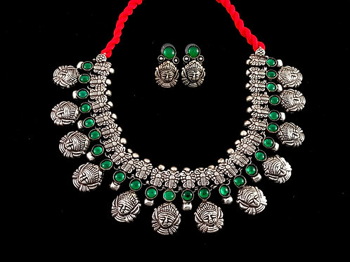 Green Stone German Silver Choker with Studs