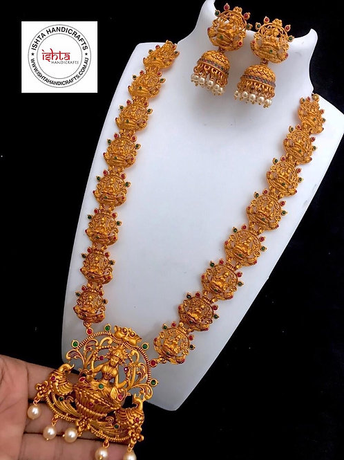 Matte Finish Temple Long Set with Jhumkas