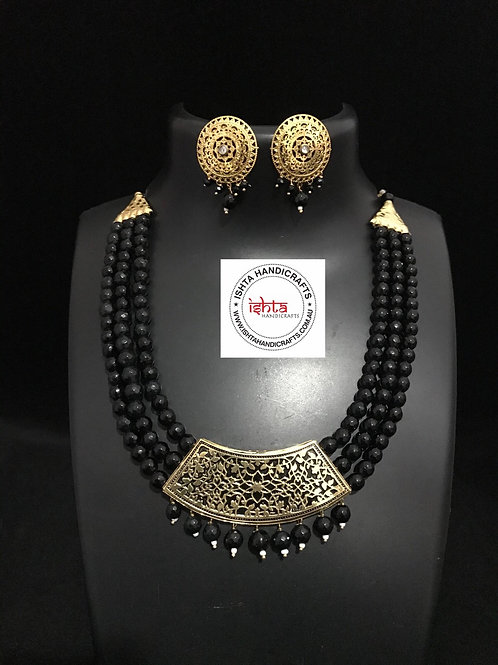 Onyx Beads with Brass Pendant and Ear Rings - Black