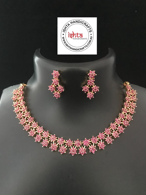 American Diamond Stones Set with Ear Rings - Pink