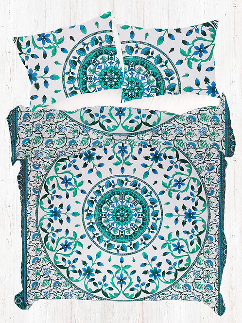 Sky Blue And Dark Green King Size Mandala Quilt Cover Set