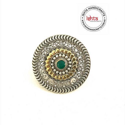 Dual Tone German Silver Finger Ring - Green