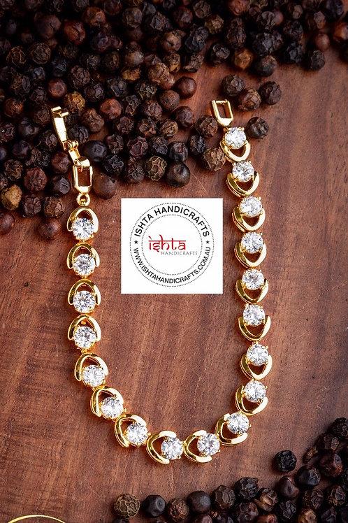 American Diamond Stones Gold Finish Bracelet