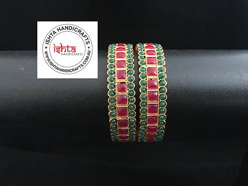 Red and Green Stone Bangles