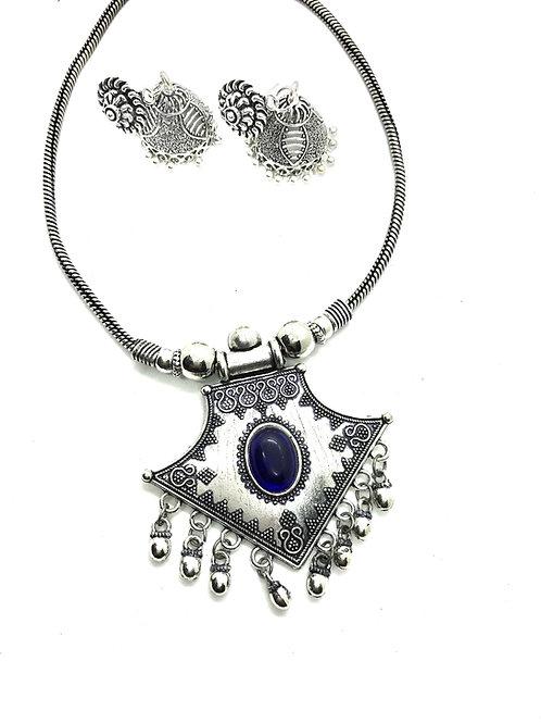 German Silver Dark Blue Stones Set with Jhumkas