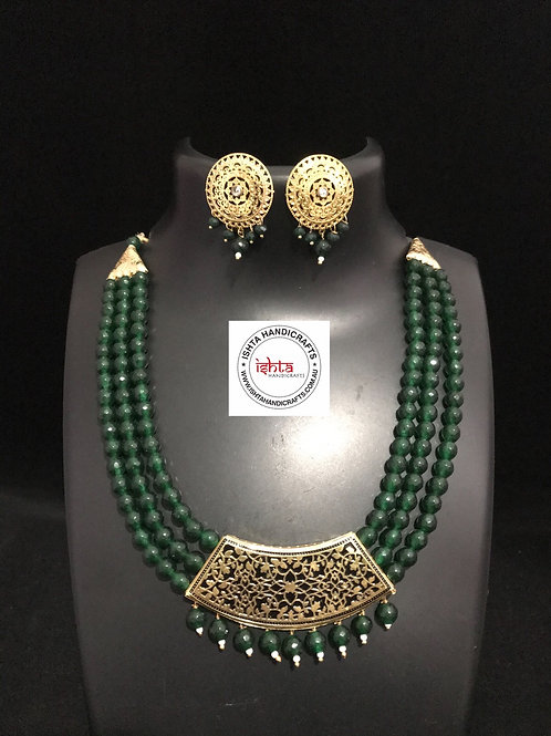 Onyx Beads with Brass Pendant and Ear Rings - Green