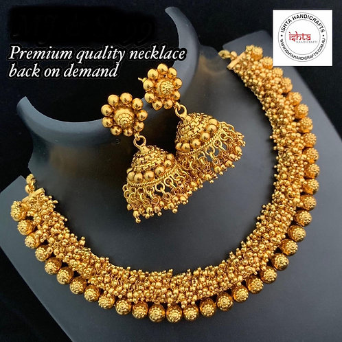 Plain Gold Set with Jhumkas