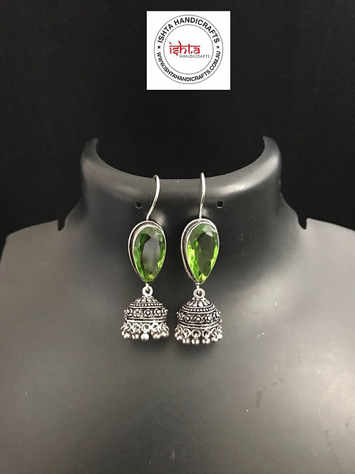 Hook Stone German Silver Jhumkas - Green