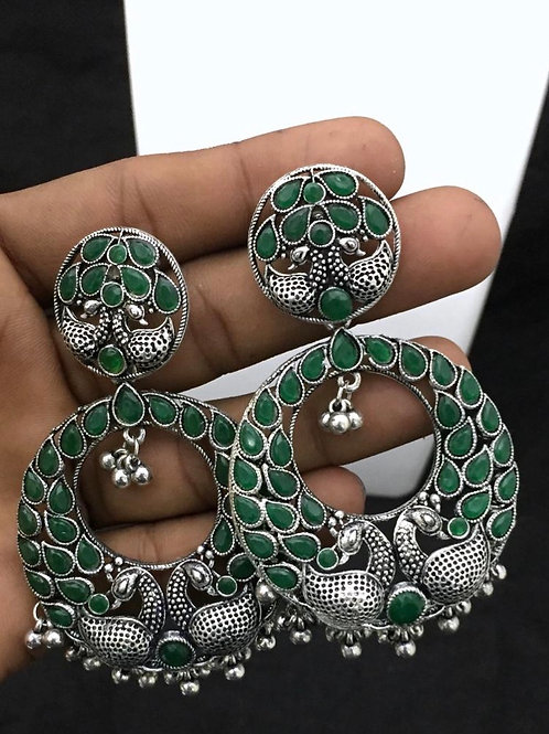 German Silver Big Ear Rings - Green