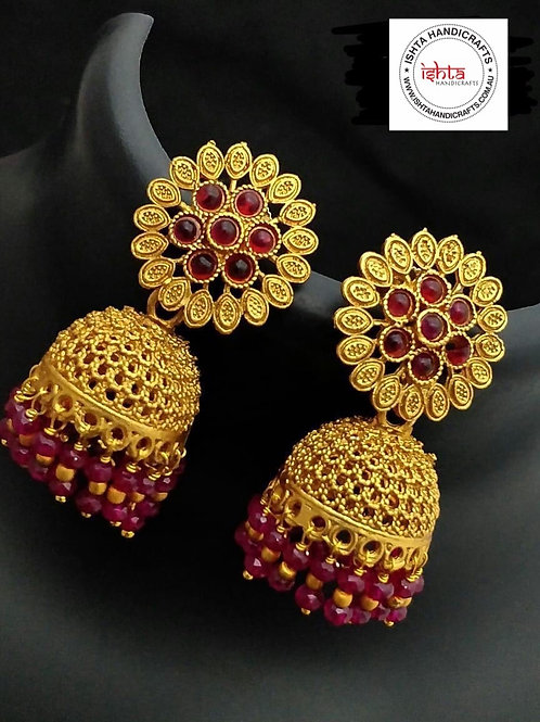 Matte Finish Jhumkas with Flower Big Studs