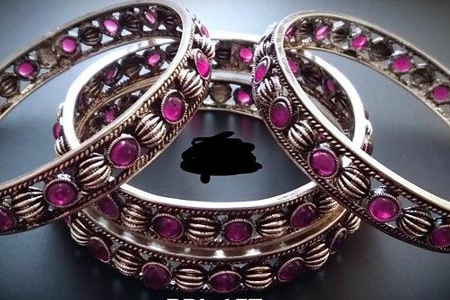 Pink Stone German Silver Bangles