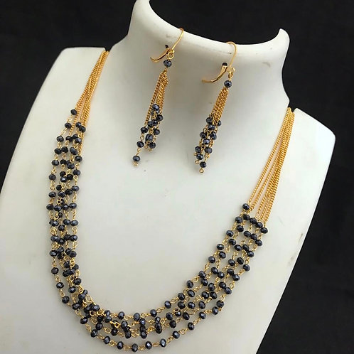 Black Beads 7 Lines Set with Ear Rings
