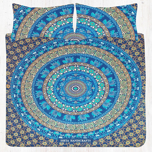 Blue & Green Elephant Mandala Bedding Set with Pillow Cases