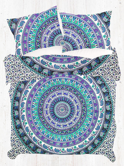 Purple and Light Green Elephant Mandala Quilt Covet Set and Pillow Covers