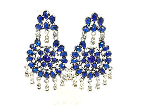 German Silver Ear Rings - Blue