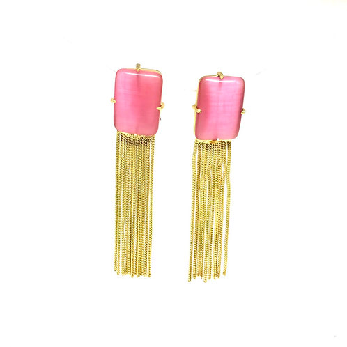 Pink Gold Ear Ring with Chain