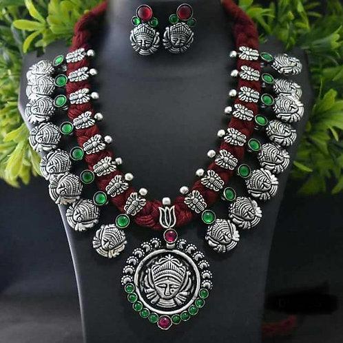 Durga German Silver Set with Earrings