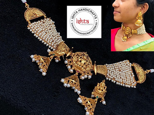 Pearl Lakshmi Choker with Jhumkas
