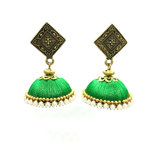 Silk Thread Jhumkas - Green