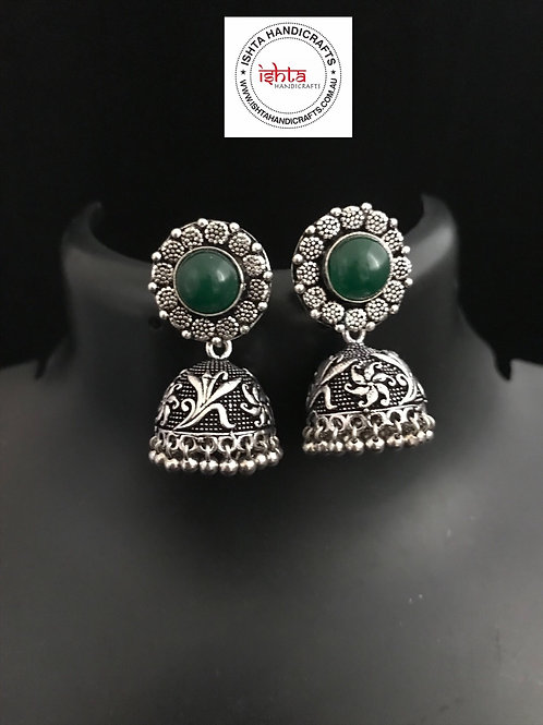 German Silver Jhumkas - Green